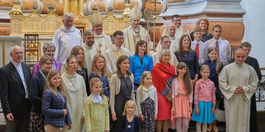 First deacons from Lithuania with Archbishop, Most Rev Lionginas Virbalas and their families
